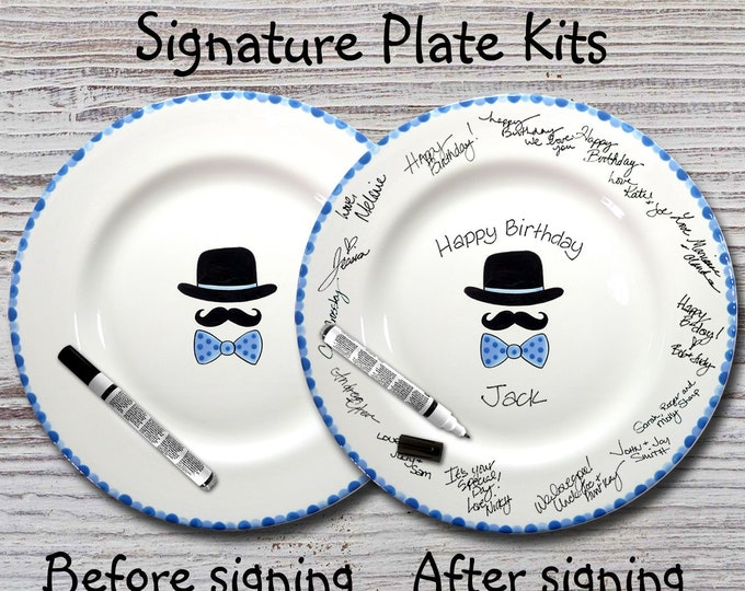 Hand Painted Signature Birthday Plate - Hat, Mustache & Bowtie Design - Mustache - Bowtie - Guest book plate