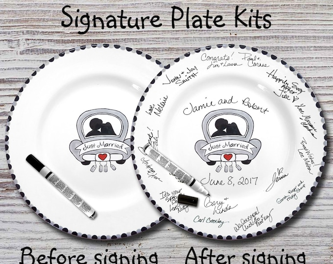 Hand Painted Signature Wedding Plate - Just Married Car Design -Wedding plate -Signature Wedding Plate -Guest book plate - Wedding gift