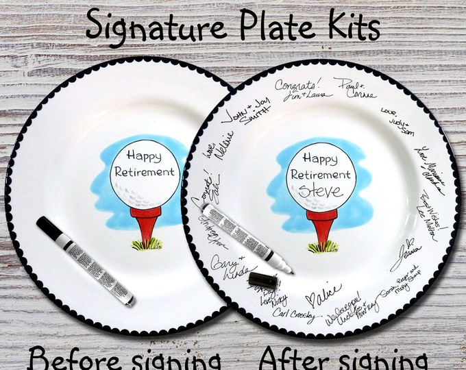 Hand Painted Signature Plate - Happy Retirement Design - Retirement Gift - Happy Retirement - Guest Book plate - Retirement gift - Golf Ball