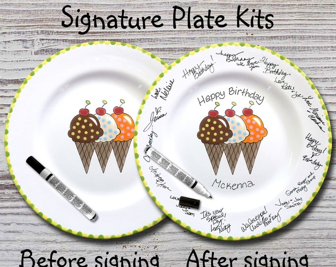 Hand Painted Signature Birthday Plate - Ice Cream Cones - Happy Birthday Plate - 1st Birthday - Birthday Cake - Birthday