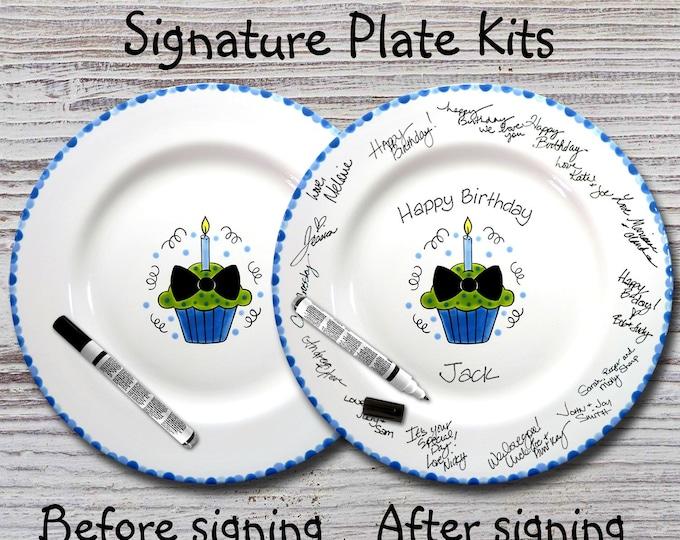 Hand painted Signature Birthday Plate -Bowtie Cupcake - Happy Birthday Plate -1st Birthday - Birthday Cupcake - Birthday Gift
