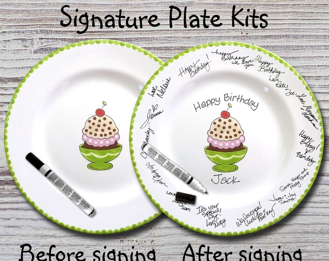 Hand Painted Signature Birthday Plate - Ice Cream Sundae - Happy Birthday Plate - 1st Birthday - Birthday Cake - Birthday