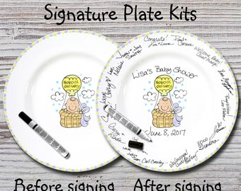 Hand Painted Signature Baby Shower Plate - Special Delivery - Baby Plates - Birth Plates - Baby Shower Signature Plate