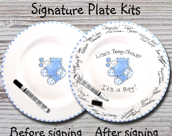 Hand Painted Signature Baby Shower Plate - Blue Booties -Baby Plates -Birth Plates -Baby Shower Signature Plate - Guest Book
