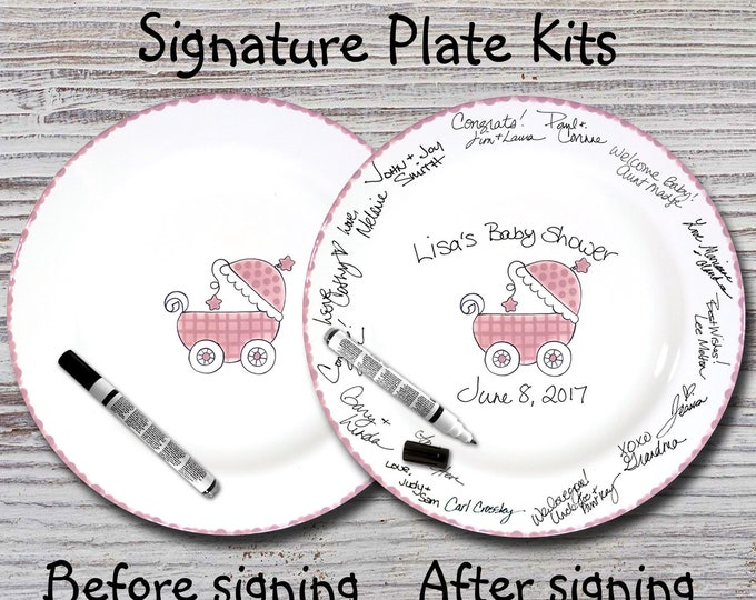 Hand Painted Signature Baby Shower Plate - Pink Baby Buggy - Baby Plates - Birth Plates - Baby Shower Signature Plate