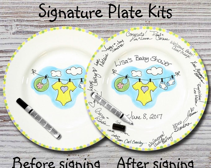 Hand Painted Signature Baby Shower Plate - Baby Clothes Line - Baby Plates - Birth Plates - Baby Shower Signature Plate