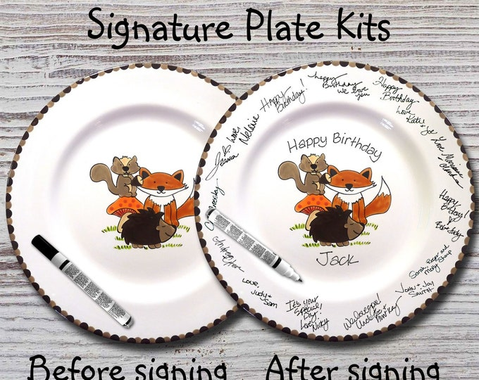 Hand Painted Signature Birthday Plate - Hand Painted Signature Baby Shower Plate - Woodland Animals - Happy Birthday Plate - 1st Birthday