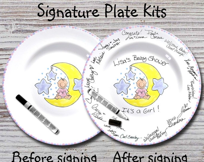 Hand Painted Signature Baby Shower Plate - Moon Baby - Baby Plate -  Birth Plates - Baby Shower Signature Plate - Guest Book