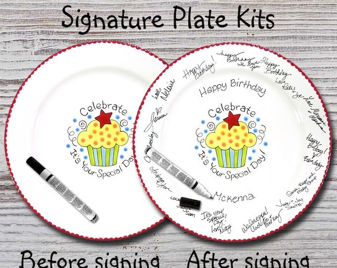 Hand Painted Signature Birthday Plate - Celebrate Cupcake - Happy Birthday Plate - 1st Birthday - Birthday Cupcake