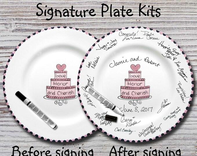 Hand Painted Signature Wedding Plate - Cherish Wedding Cake Design -Wedding plate -Signature Wedding Plate -Guest book plate - Wedding gift