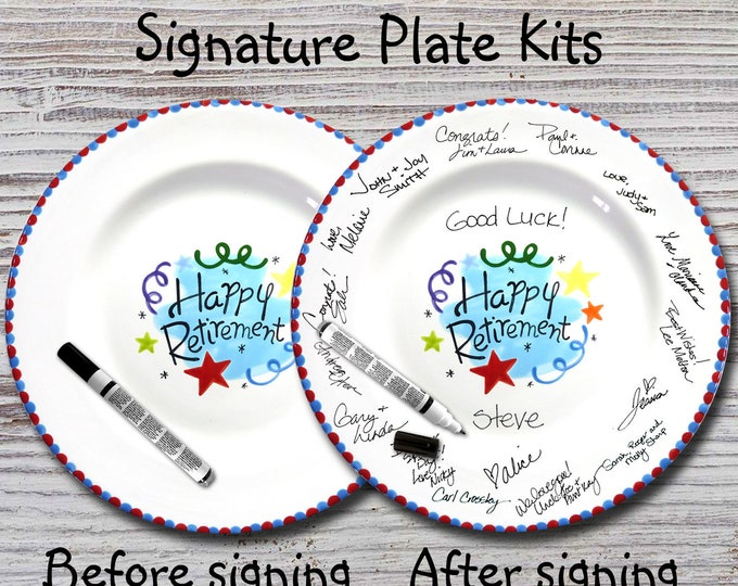 Hand Painted Signature Plate -Happy Retirement Design -Retirement Gift -Happy Retirement - Guest Book plate - Retirement gift