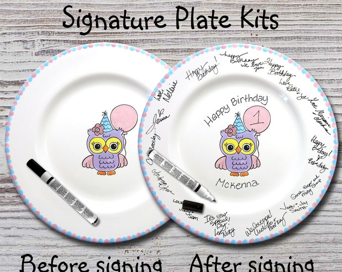 Hand Painted Signature Birthday Plate -Pink Owl Design - Happy Birthday Plate - 1st Birthday - Birthday Gift