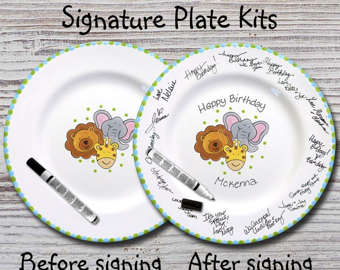 Hand Painted Signature Birthday/Baby Shower Plate - Little Animal Design - Happy Birthday Plate - 1st Birthday - New Baby - Baby Animals