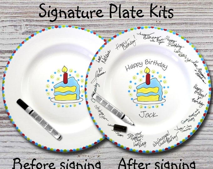 Hand Painted Signature Birthday Plate - Piece of Cake - Happy Birthday Plate - 1st Birthday - Birthday Cake - Birthday Gift