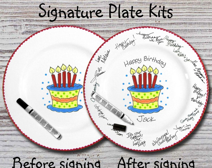 Hand Painted Signature Birthday Plate - Birthday Cake - Happy Birthday Plate - 1st Birthday - Birthday Cake - Birthday Gift