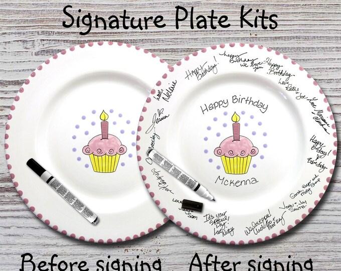Hand Painted Signature Birthday Plate - Pink Cupcake - Happy Birthday Plate - 1st Birthday - Birthday Cupcake - Birthday Gift
