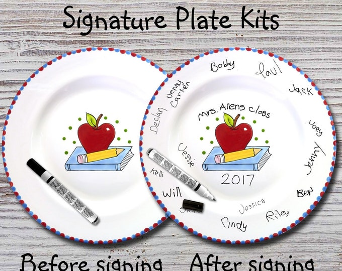 Hand Painted Ready to Ship - Hand Painted Signature Plate - Teacher Plate - Teacher Signature Plate - Teacher Gift - Apple