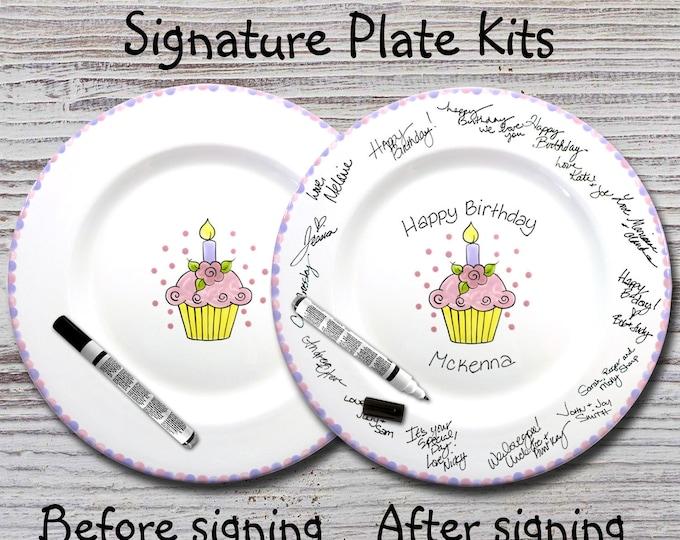 Hand Painted Signature Birthday Plate - Flower Cupcake -Happy Birthday Plate - 1st Birthday -Birthday Cupcake -Birthday Gift
