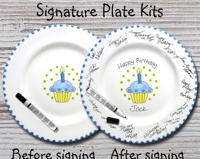 Hand Painted Signature Birthday Plate -Blue Cupcake - Happy Birthday Plate - 1st Birthday - Birthday Cupcake - Birthday Gift