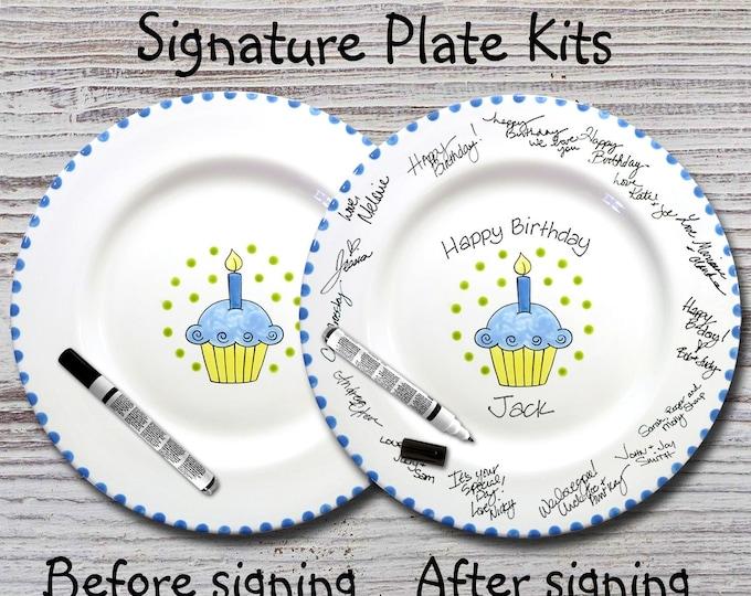 Hand Painted Signature Birthday Plate -Blue Cupcake - Happy Birthday Plate - 1st Birthday - Birthday Cupcake - Birthday Gift