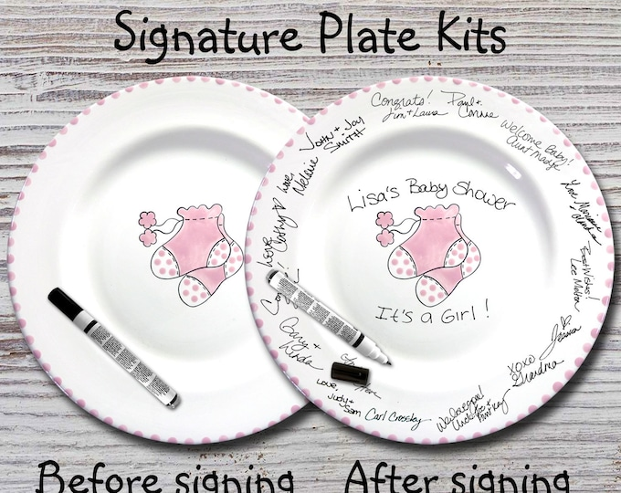 Hand Painted Signature Baby Shower Plate - Pink Booties - Baby Plate- Baby Plates - Baby Shower Signature Plate - Guest Book