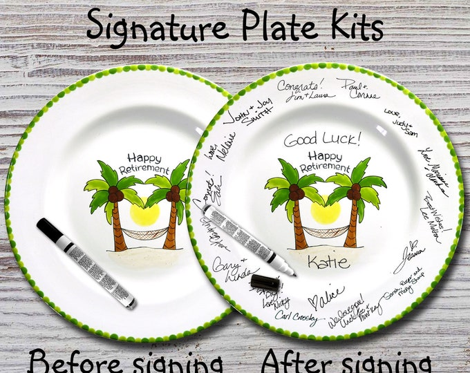 Hand Painted Signature Plate - Happy Retirement Palm Tree - Retirement Gift - Happy Retirement - Guest Book plate