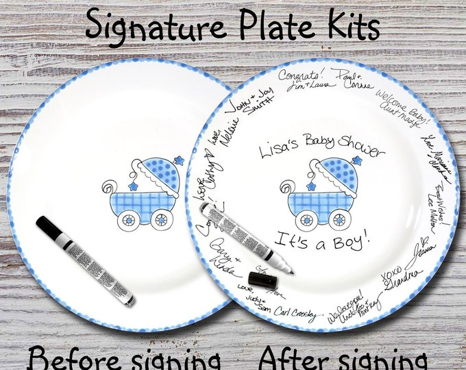 Hand Painted Signature Baby Shower Plate - Blue Baby Buggy - Baby Plate - Baby Plates - Birth Plates - Baby Signature Plate