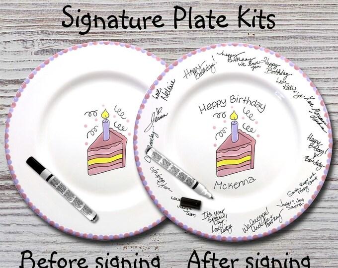 Hand Painted Signature Birthday Plate - Slice of Cake  - Happy Birthday Plate - 1st Birthday - Birthday Cake - Birthday Gift