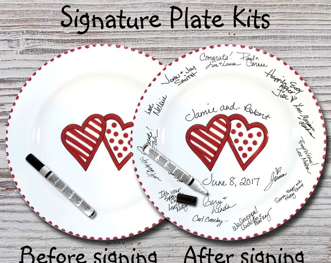 Hand Painted Signature Wedding Plate - Funky Hearts Design - Wedding plate - Signature Wedding Plate - Guest book plate