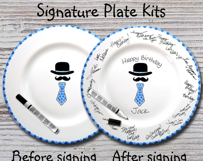 Hand Painted Signature Birthday Plate - Hat, Mustache & Tie - Happy Birthday Plate - Birthday Gift