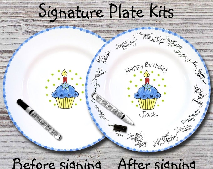 Hand Painted Signature Birthday Plate - Star Cupcake - Happy Birthday Plate - 1st Birthday - Birthday Cupcake - Birthday Gift