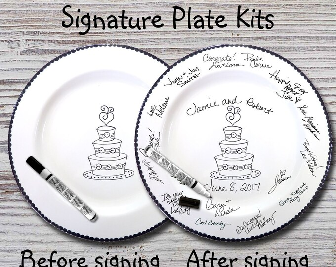 Hand Painted Signature Wedding Plate - Wedding Cake Design - Wedding plate - Signature Wedding Plate - Guest book plate