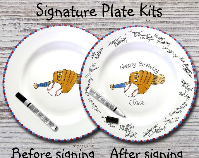 Hand Painted Signature Plate - Baseball Design - Guest Book Plate - Baseball Plate - Baseball championship