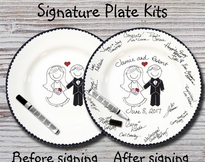 Hand Painted Signature Wedding Plate -Wedding Couple -Wedding plate -Signature Wedding Plate -Guest book plate - Wedding gift