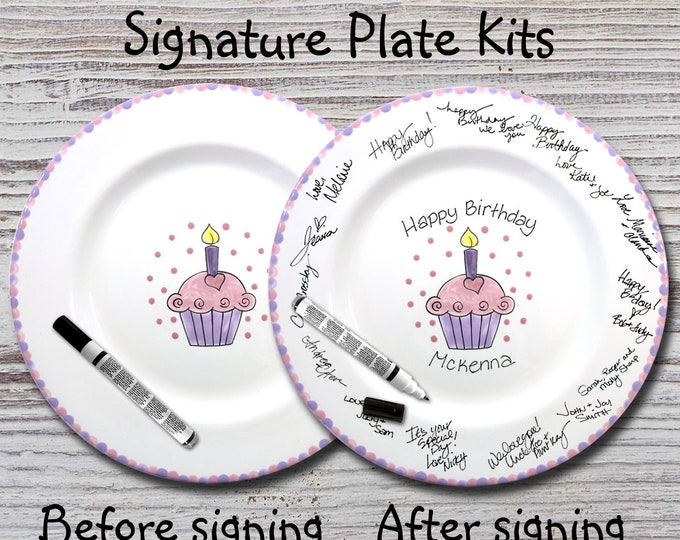 Hand Painted Signature Birthday Plate -Heart Cupcake - Happy Birthday Plate - 1st Birthday -Birthday Cupcake - Birthday Gift