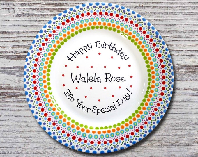 Personalized Birthday Plates - Happy Birthday Plate - 1st Birthday Plate - Hand painted Ceramic Birthday Plate - Mandala Birthday Plate