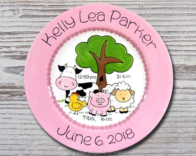 Personalized Birth Plates - Personalized Ceramic Baby Plate - Personalized Baby Plates - Baby Shower Plates - Farm Animals Design - New Baby