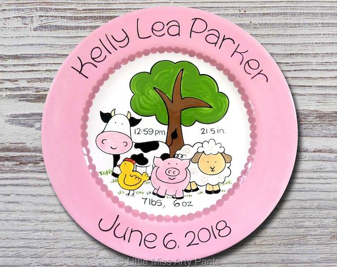 Personalized Birth Plates - Personalized Ceramic Baby Plate - Personalized Baby Plates - Baby Shower Plates - Farm Animals Design - New Baby