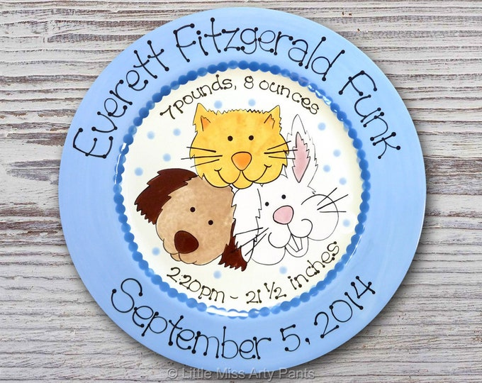 Personalized Birth Plates - Personalized Ceramic Baby Plate - Personalized Baby Plates - Baby Shower Plates - Baby Animals Design - New Baby