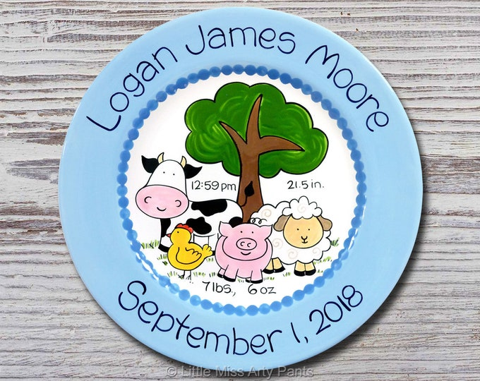 Personalized Birth Plates - Personalized Ceramic Baby Plate - Personalized Baby Plates - Baby Shower Plates - Farm Animals Design -New Baby