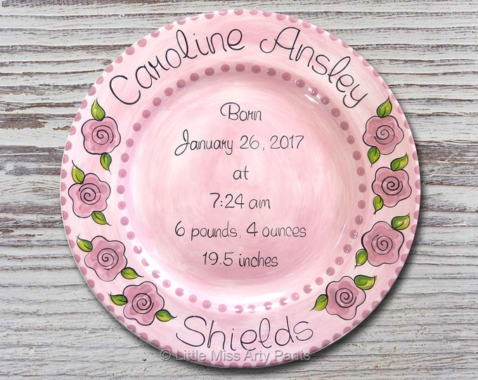 Personalized Birth Plates - Personalized Ceramic Baby Plate - Personalized Baby Plates - Baby Shower Plates - Flower Girl Design - New Baby