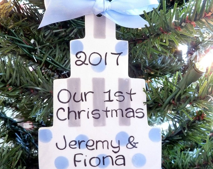 Personalized Ceramic Christmas Ornament - Wedding Cake Ornament - Our First Christmas Ornament - 1st Christmas - Layer Wedding Cake Ornament