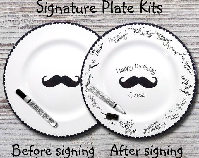 Hand Painted Signature Birthday Plate - Mustache -  Happy Birthday Plate