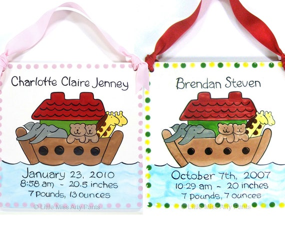 Baby Shower Plates - Personalized Baby Plates - Personalized Birth Plates - Baby Ark Design Birth Announcement Plaque