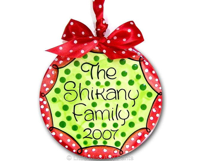 Personalized Ceramic Christmas Ornament - Personalized Ceramic Polka-Dot Family Christmas Ornament - 1sts Christmas ornament