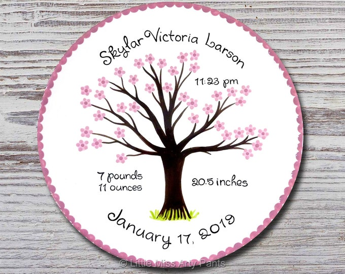 Personalized Birth Plates - Personalized Ceramic Baby Plate - Personalized Baby Plates - Baby Shower Plates - Cherry Tree Design - New Baby