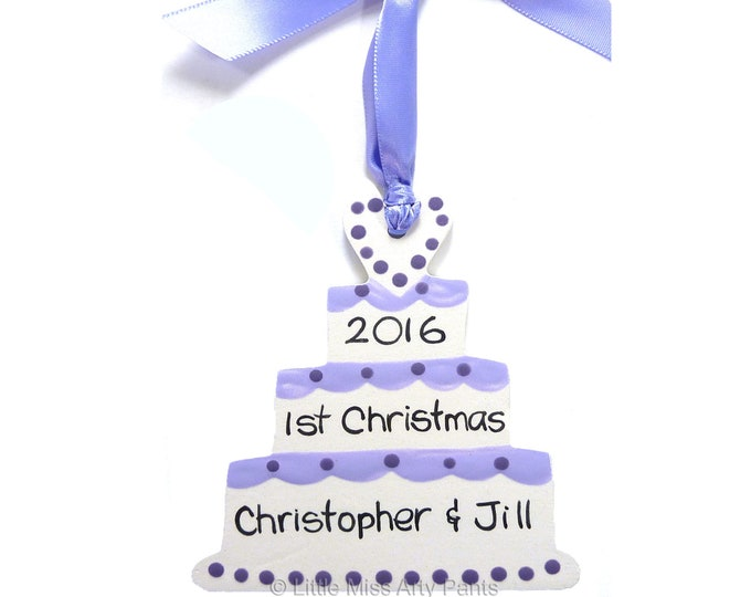 Personalized Ceramic Christmas Ornament - Wedding Cake Ornament - Our First Christmas Ornament - 1st Christmas