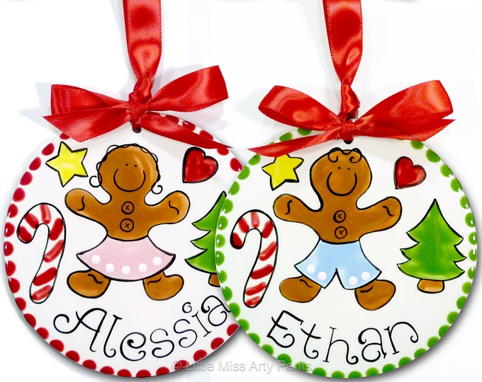 Personalized Ceramic Christmas Ornament - Ceramic Christmas Ornaments -  Gingerbread Boy or Gingerbread Girl ornament - 1st Christmas
