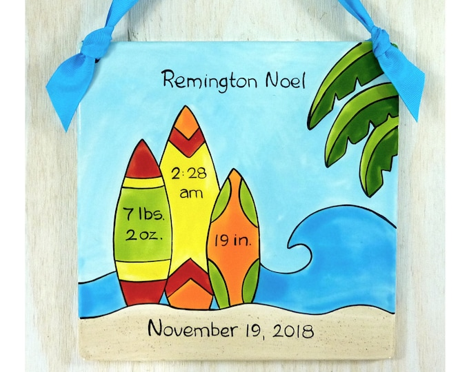 Personalized Birth Plates - Personalized Ceramic Baby Plate - Personalized Baby Plates - Surf Board Design Birth Announcement Plaque