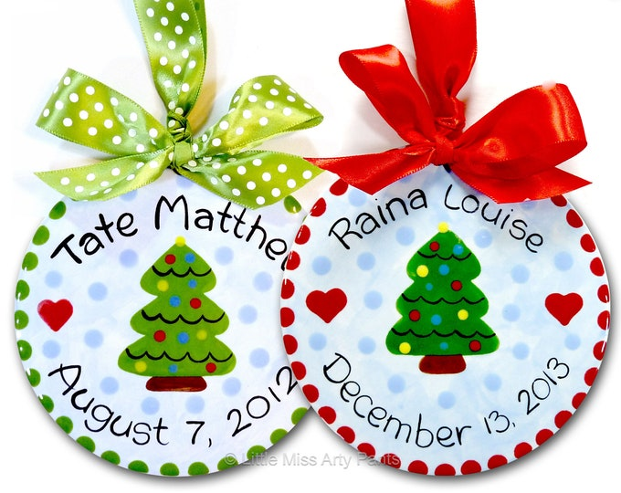 Personalized Christmas Ornament -Ceramic Christmas Ornaments -Personalized Ceramic Christmas Tree Ornament -Christmas Tree - 1st christmas